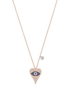 "Meira T - 14K Rose Gold Diamond & Blue Sapphire Evil Eye Heart Necklace, 18"""