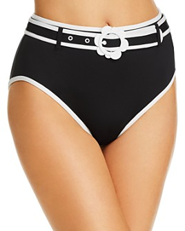 kate spade new york - Daisy Buckle High-Waist Bikini Bottom