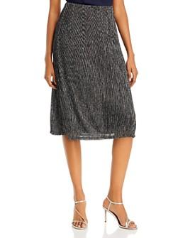 AQUA - Metallic Plissé Midi Skirt - 100% Exclusive
