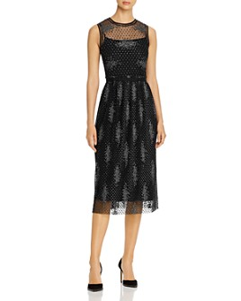 BOSS - Delyssa Sleeveless Embroidered Mesh Dress