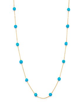 """Bloomingdale's - Turquoise Adjustable Station Necklace in 14K Yellow Gold, 7""""-19"""" - 100% Exclusive"""