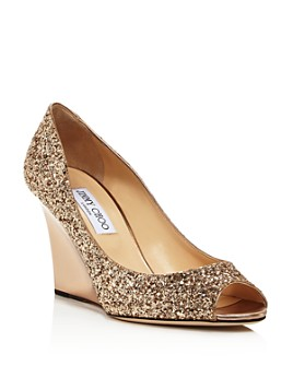 Jimmy Choo - Women's Baxen Peep-Toe Wedge Heel Pumps