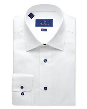David Donahue - Textured-Weave Trim Fit Dress Shirt