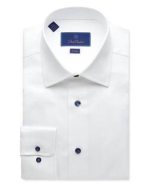 David Donahue Textured-Weave Trim Fit Dress Shirt-Men