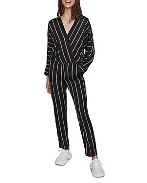 Maje Suits PANDOMI STRIPED CROSSOVER JUMPSUIT