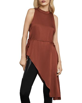 BCBGMAXAZRIA - Mock-Neck Asymmetric Satin Top