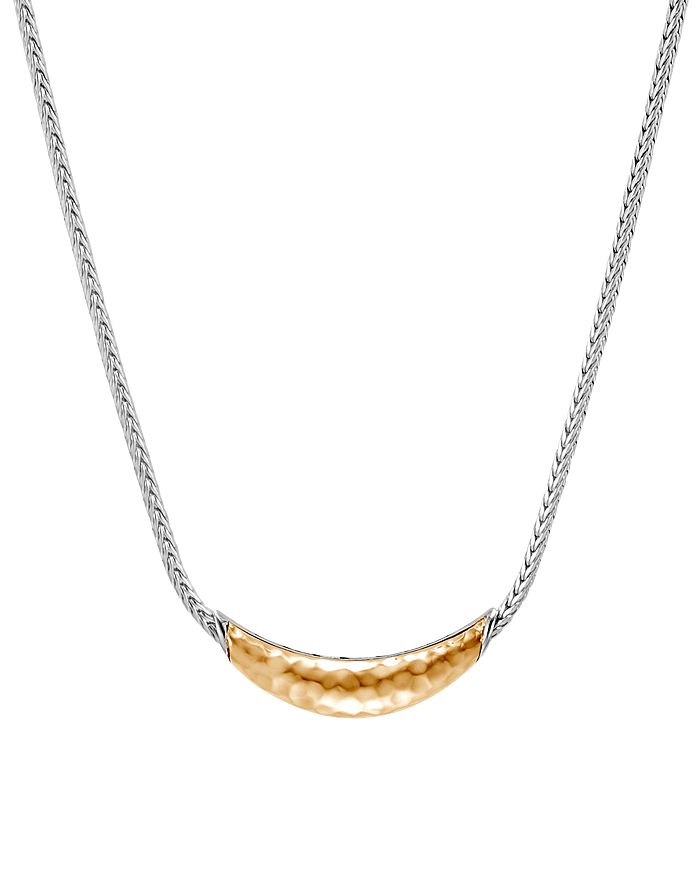 """JOHN HARDY - Sterling Silver & 18K Bonded Gold Classic Chain Hammered Arc Adjustable Necklace, 18"""""""