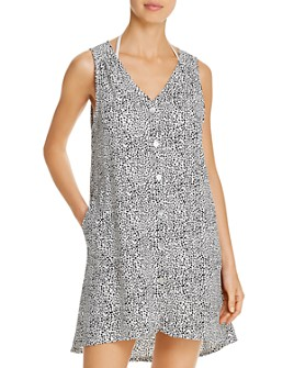 J. Valdi - Button-Down Tank Dress Swim Cover-Up