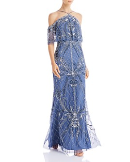 Aidan Mattox - Cold Shoulder Beaded Gown