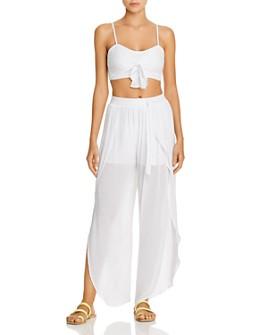 AQUA - Tie-Front Cropped Top & Petal Beach Pants Swim Cover-Ups - 100% Exclusive