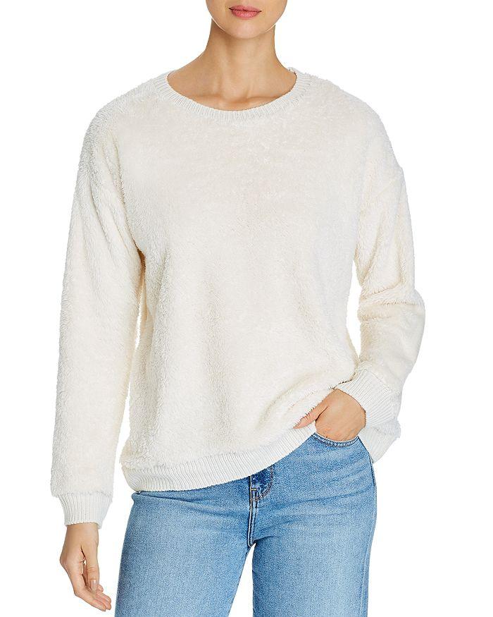Alison Andrews Leopard Print Sherpa Sweatshirt In Marshmallow