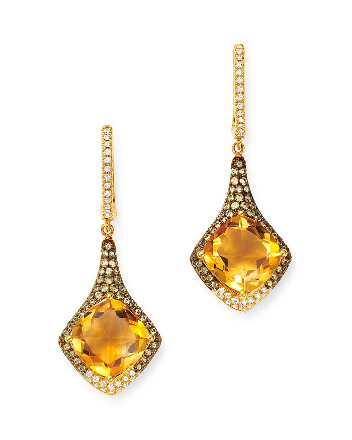 Bloomingdale's - Citrine, Diamond & Yellow Sapphire Drop Earrings in 14K Yellow Gold - 100% Exclusive