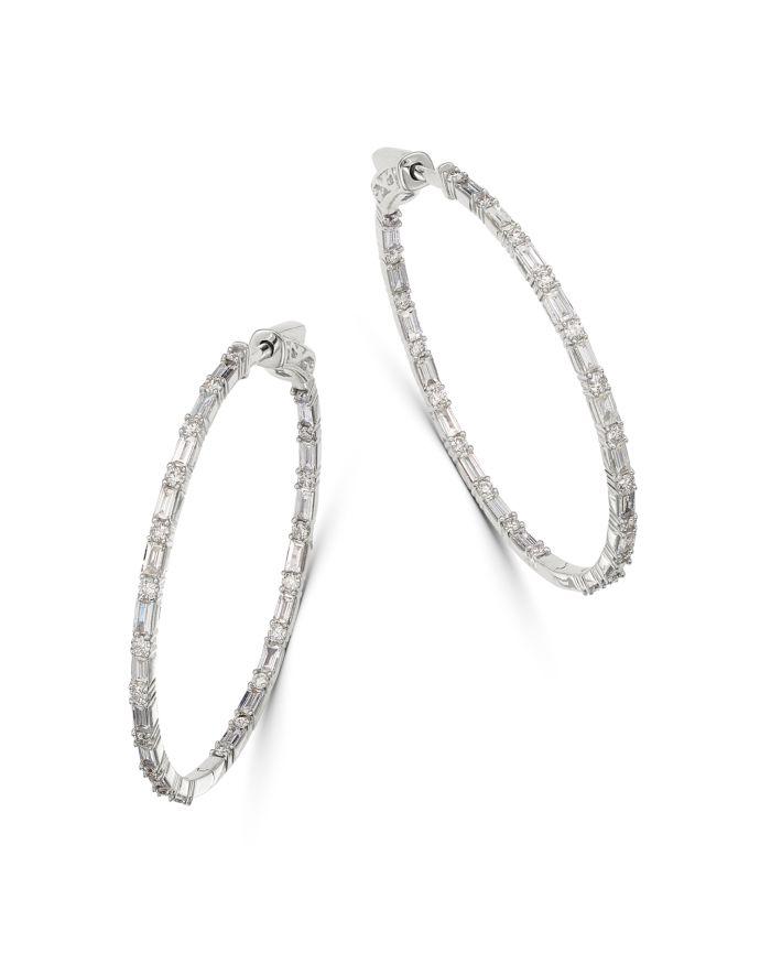 Bloomingdale's Diamond Inside-Out Hoop Earrings in 14K White Gold, 2.0 ct. t.w. - 100% Exclusive    Bloomingdale's