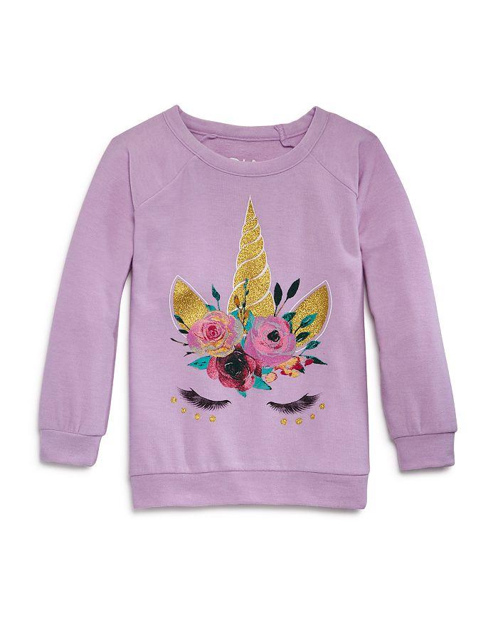 CHASER - Girls' Unicorn Lashes Sweatshirt - Little Kid