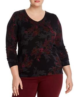 Daniel Rainn Plus - Botanical Button-Back Lightweight Sweater