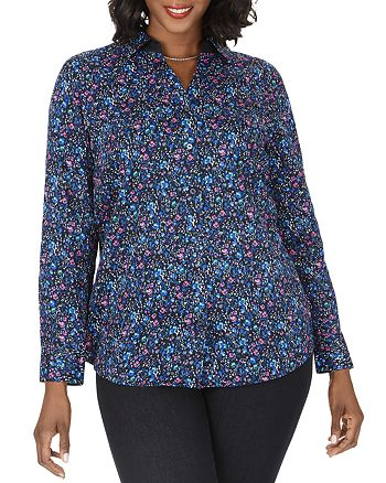 Foxcroft Plus - Faith Wrinkle-Free Floral Sateen Tunic