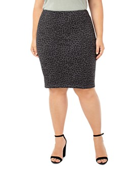 Liverpool Los Angeles Plus - Reese Leopard-Print Pencil Skirt