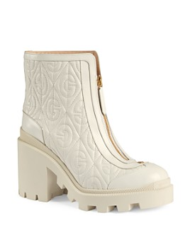 Gucci - Women's G Rhombus Leather Mid-Heel Ankle Boots