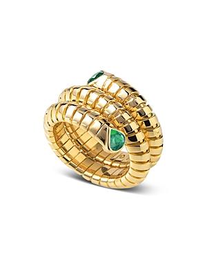 18K Yellow Gold Trisola Emerald Ring
