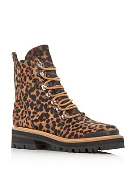 Marc Fisher LTD. - Women's Izziely Leopard-Print Calf Hair Combat Boots