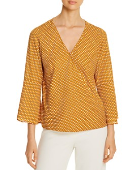 Status by Chenault - Printed Faux-Wrap Top
