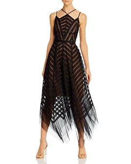 BCBGMAXAZRIA - Tinsel Tulle Handkerchief-Hem Dress