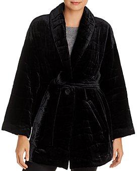 Eileen Fisher Petites - Belted Velvet Coat - 100% Exclusive