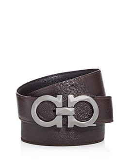 Salvatore Ferragamo - Men's Double Gancini Reversible Pebbled Leather Belt