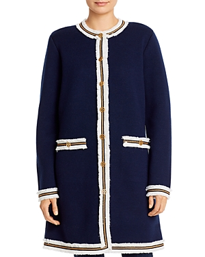 Tory Burch Coats KENDRA FRINGE-TRIMMED SWEATER COAT