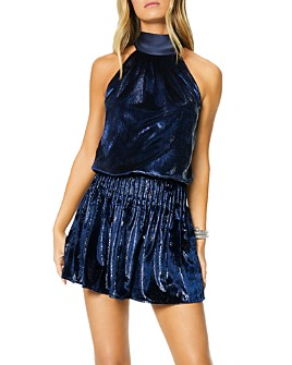 Ramy Brook - Lori Metallic Velvet Blouson Mini Dress
