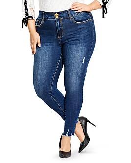 City Chic Plus - Asha Distressed Skinny Jeans in Mid Denim