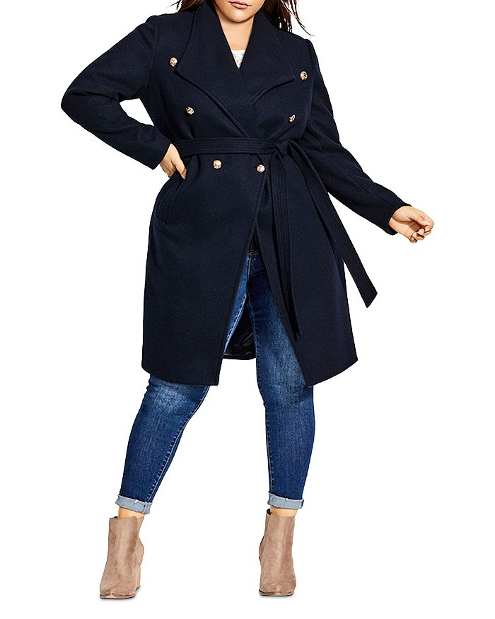 City Chic Plus - Double-Breasted Military Coat