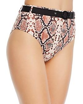 AQUA - Belted Snakeskin Print Bikini Bottom - 100% Exclusive