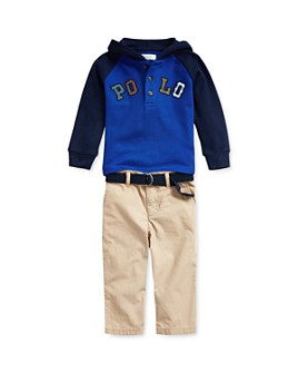 Ralph Lauren - Boys' Hooded Henley Top & Belted Chino Pants Set - Baby