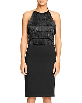 HALSTON - Fringe-Trimmed Dress