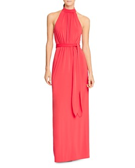 HALSTON - Mock-Neck Jersey Gown