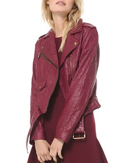 MICHAEL Michael Kors - Textured Leather Moto Jacket