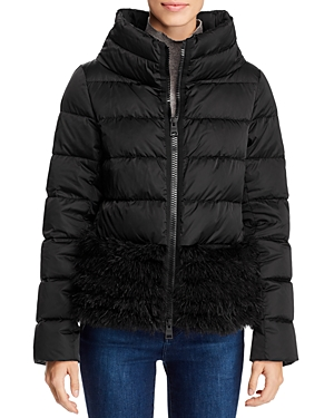 Herno Feather Trimmed Short Down Coat-Women