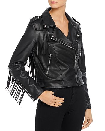 BLANKNYC - Fringed Faux Leather Moto Jacket - 100% Exclusive