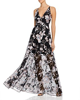 Avery G - Floral-Embroidered Illusion Gown