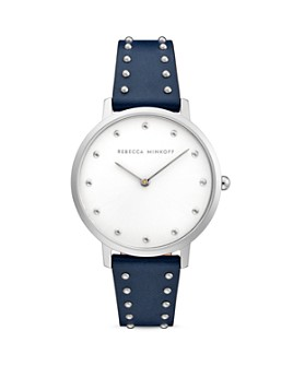 Rebecca Minkoff - Major Micro Studded Leather Strap Watch, 35mm