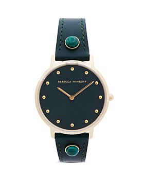 Rebecca Minkoff - Major Green Leather Strap Watch, 35mm