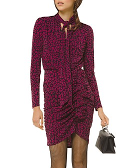 MICHAEL Michael Kors - Ruched Animal-Print Mini Dress