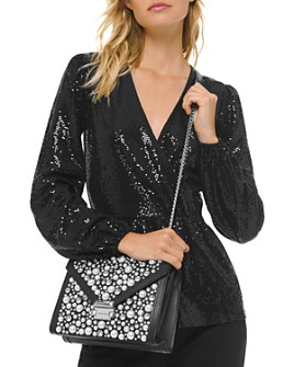 MICHAEL Michael Kors - Metallic Dot-Embellished Crossover Top