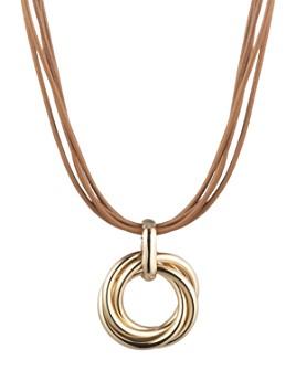 """Ralph Lauren - Knot Pendant Leather Necklace, 16"""""""