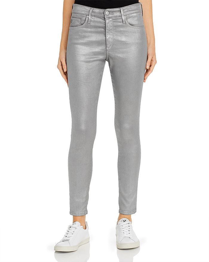 AG - Farrah Ankle Skinny Jeans in Leatherette Chrome-Cast Iron