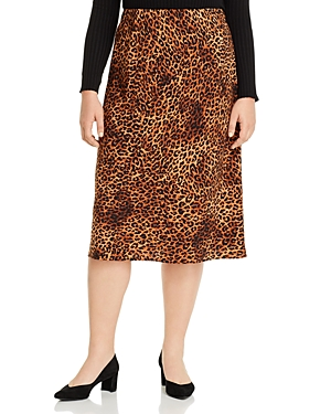 B Collection by Bobeau Curvy Lyndon Bias-Cut Leopard Print Skirt