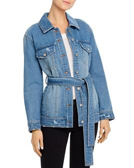 BAGATELLE.NYC - Belted Long Denim Jacket
