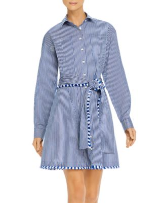 Derek Lam 10 Crosby Long Sleeve Crew Neck Belted Shirt Dress Blue Cotton Size 6
