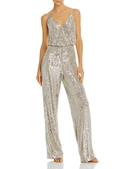 Aidan by Aidan Mattox - Sequined Wide-Leg Jumpsuit